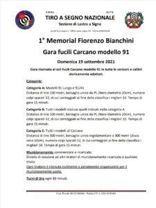 1° MEMORIAL FIORENZO BIANCHINI  GARA FUCILI CARCANO MOD.91